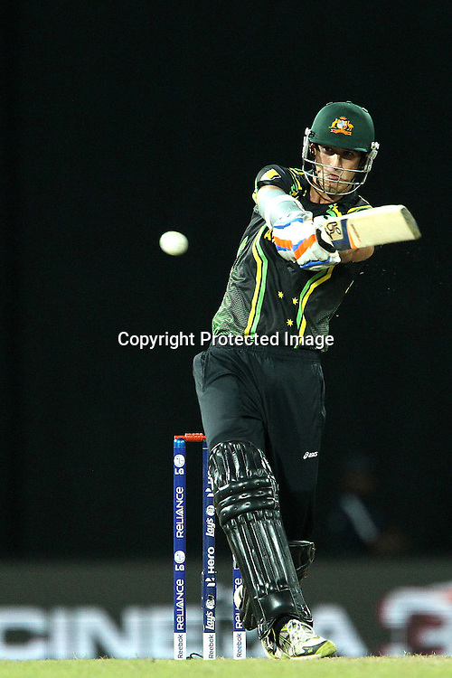 Mitchell Starc during the ICC World Twenty20 semi final match between Australia and The West Indies held at the Premadasa Stadium in Colombo, Sri Lanka on the 5th October 2012<br /> <br /> Photo by Ron Gaunt/SPORTZPICS