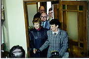 Raisa Gorbachev at Bunratty Folk Park.  (R99)..1989..02.04.1989..04.02.1989..2nd April 1989..While her husband, Russian President Mikhail Gorbachev,was working on state matters ,Mrs Gorbachev was taken on a tour of Bunratty Folk Park in Co Clare. The Gorbachevs were in Ireland as part of a tour of European Capitals...Picture shows Mrs Gorbachev and Mrs Haughey as they enter one of the thatched cottages in the park.