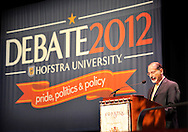 Sept. 19, 2012 - Hempstead, New York, U.S. - DR. BERNARD FIRESTONE, Dean of Hofstra College of Liberal Arts and Sciences, introduces former Florida Governor JEB BUSH, speaking at Hofstra University about ?America's Promise in Uncertain Times.? This lecture is part of ?Debate 2012 Pride Politics and Policy,' a series of events leading up to when Hofstra hosts the 2nd Presidential Debate between Pres. Barack Obama and Mitt Romney, on October 16, 2012, in a Town Meeting format.