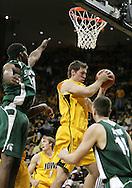 04 JANUARY 2007: Iowa center Seth Gorney (53) grabs a rebound in Iowa's 62-60 win over Michigan State at Carver-Hawkeye Arena in Iowa City, Iowa on January 4, 2007.