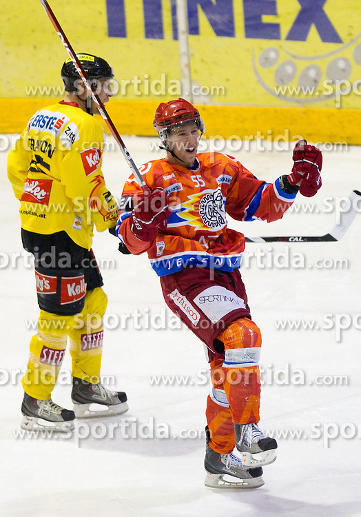 Robert Sabolic of Acroni Jesenice celebrates during  ice-hockey match between HK Acroni Jesenice and EV Vienna Capitals of 44th Round of EBEL league, on January 30, 2011 in Arena Podmezkla, Jesenice, Slovenia. Acroni Jesenice defeated Vienna 4-3. (Photo By Vid Ponikvar / Sportida.com)