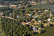 Aerial view of homes in Ravens Run development in Mt Pleasant, SC.