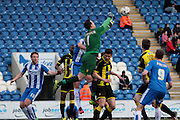 Burton Goalkeeper Jon McLaughlin clears in the Sky Bet League 1 match between Colchester United and Burton Albion at the Weston Homes Community Stadium, Colchester, England on 23 April 2016. Photo by Nigel Cole.