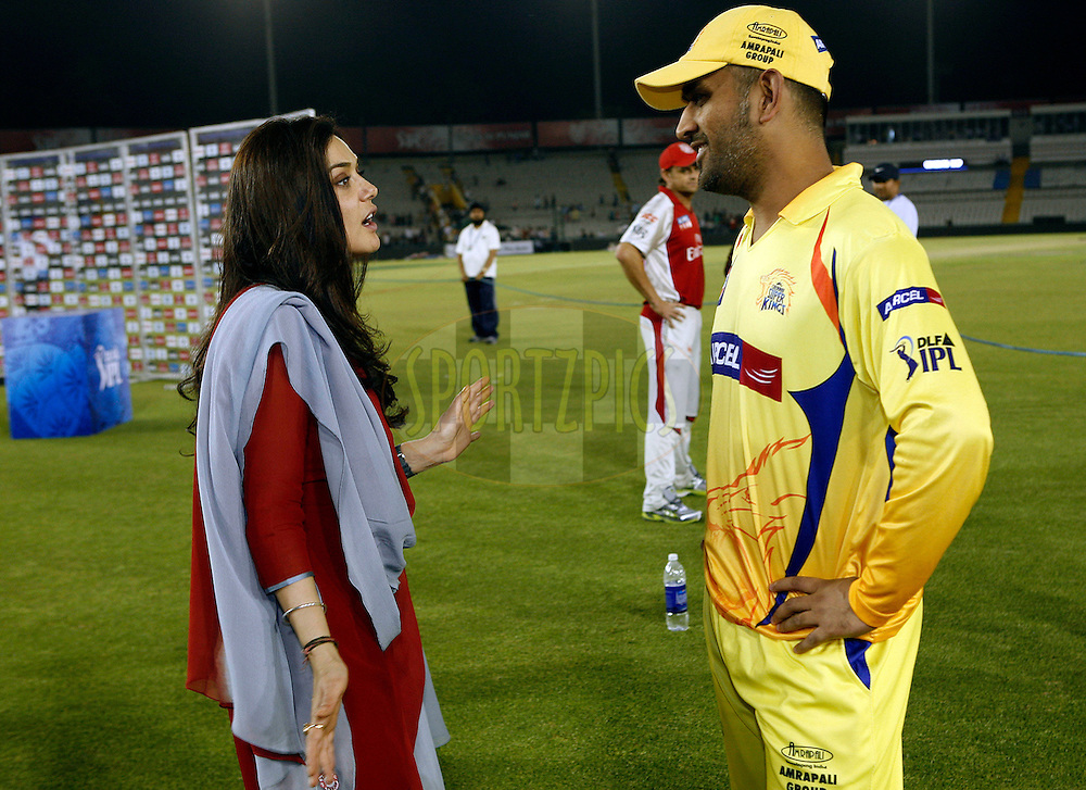 Kings XI Punjab owner Priety Zinta (L) talks with Chennai Super Kings captain Mahender Singh Dhoni after match 9 of the Indian Premier League ( IPL ) Season 4 between the Kings XI Punjab and the Chennai Super Kings held at the PCA stadium in Mohali, Chandigarh, India on the 13th April 2011..Photo by Money Sharma/BCCI/SPORTZPICS