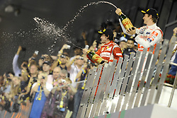 13.11.2011, Yas-Marina-Circuit, Abu Dhabi, UAE, Grosser Preis von Abu Dhabi, im Bild Podium - Fernando Alonso (ESP), Scuderia Ferrari - Jenson Button (GBR),  McLaren F1 Team  // during the Formula One Championships 2011 Large price of Abu Dhabi held at the Yas-Marina-Circuit, 2011/11/12. EXPA Pictures © 2011, PhotoCredit: EXPA/ nph/ Dieter Mathis..***** ATTENTION - OUT OF GER, CRO *****