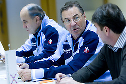 Stane Ostrelic, Head coach Miro Pozun and Leopold Kalin at press conference of Handball Men National Team of Slovenia before match with Bolgaria,  on November 24, 2008 in RZS, Ljubljana, Slovenia.  (Photo by Vid Ponikvar / Sportida)