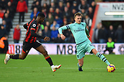 Rob Holding (16) of Arsenal on the attack being close down by Jefferson Lerma (8) of AFC Bournemouth during the Premier League match between Bournemouth and Arsenal at the Vitality Stadium, Bournemouth, England on 25 November 2018.