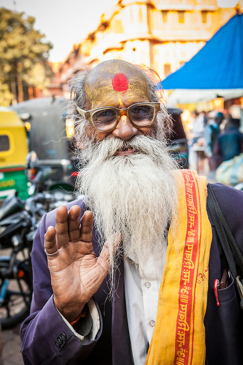 A yogi or holy man in a market in Jaipur, Rajasthan, India. Possibly a Sadhu