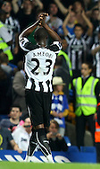 London - Wednesday September 22nd 2010:  Goalscoring hero Shola Ameobi of Newcastle applauds the traveling fans at the end of the Carling Cup 3rd Round match at Stamford Bridge, London. (Pic by Paul Chesterton/Focus Images)