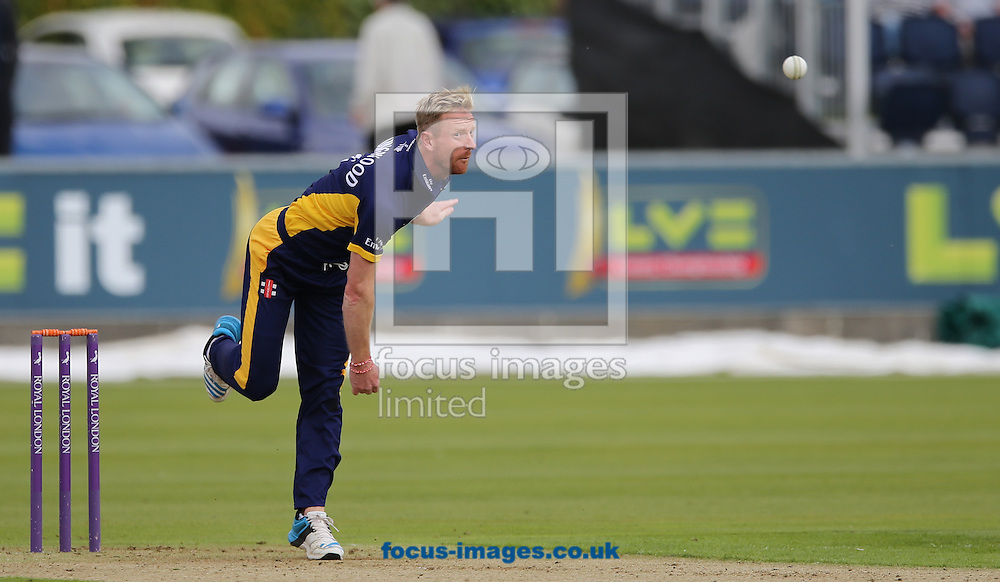 Paul Collingwood of Durham County Cricket Club bowling during the Royal London One Day Cup match at Emirates Durham ICG, Chester-le-Street<br /> Picture by Simon Moore/Focus Images Ltd 07807 671782<br /> 14/08/2014