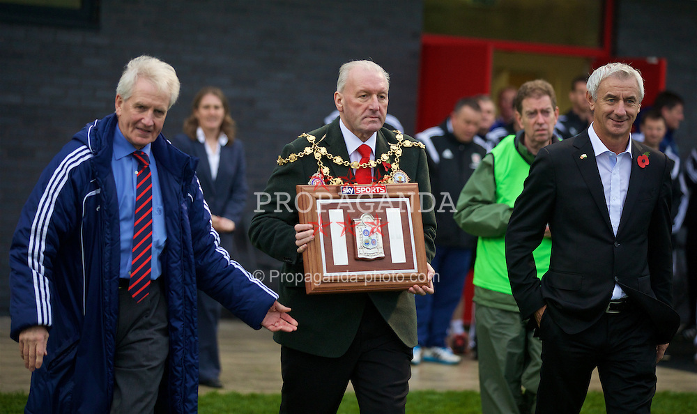 NEWPORT, WALES - Thursday, November 5, 2015: Mayor of Newport Herbie Thomas with the Victory Shield after the Under-16's Victory Shield International tournament at Dragon Park. (Pic by David Rawcliffe/Propaganda)