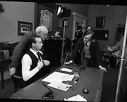 Patrick Pearse a film by Louis Marcus.    (N6)..1979..13.12.1979..12.13.1979..13th December 1979..A film on the Irish Patriot,Patrick was made by the Director, Louis Marcus.The film was to mark the centenary of Patrick Pearse's birth. The lead role was taken by renowned actor John Kavanagh.Others involved in the production were, Andy O'Mahoney, Niall Tobín,Denis Brennan and Derek Lord..A problem with sound?  The sound technicians check that all is ok on set.