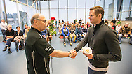 Dominik MEICHTRY (R) of Switzerland receives a present from SCUW president Philippe M. Walter after holding a speech during his swim clinic during the International Swim Meet Uster 2015 in Uster, Switzerland, Saturday, Jan. 24, 2015. (Photo by Patrick B. Kraemer / MAGICPBK)