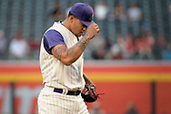 PHOENIX, AZ - APRIL 27:  Taijuan Walker #99 of the Arizona Diamondbacks reacts on the pitching mound during the first inning against the San Diego Padres at Chase Field on April 27, 2017 in Phoenix, Arizona. The Arizona Diamondbacks won 6 - 2.  (Photo by Jennifer Stewart/Getty Images)