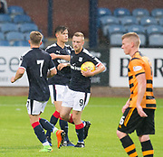 Dundee&rsquo;s Matty Hanvey is congratulated after scoring by Cameron Moore and Jesse Curran - Dundee under 20s v Alloa Athletic in the Irn Bru Cup Round 1 at Dens Park, Dundee - photograph by David Young<br /> <br />  - &copy; David Young - www.davidyoungphoto.co.uk - email: davidyoungphoto@gmail.com