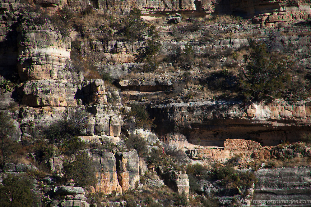 North America, USA, Arizona, Walnut Canyon. Canyon walls provided cliff dwellings for the Sinagua people between 1125 and 1250.