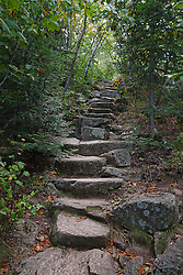 Hiking trail up Cadillac Mountain, Acadia National Park, Maine, United States of America
