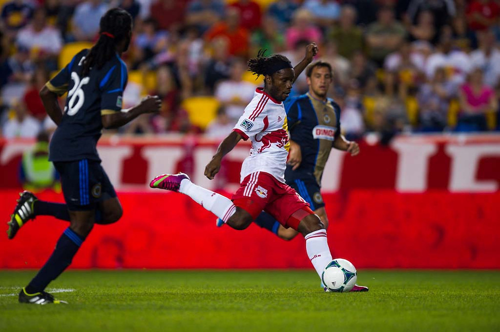 HARRISON, NJ - AUGUST 17:  Peguy Luyindula #88 of New York Red Bulls in action during the game against the Philadelphia Union at Red Bulls Arena on August 17, 2013. (Photo By: Rob Tringali)
