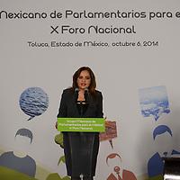 Toluca, México.- Ana Lilia Herrera, Senadora y presidenta del Grupo Mexicano de Parlamentarios para el Hábitat, durante la inauguracion del X Foro Nacional de Parlamentarios para el Hábitat. Agencia MVT / Arturo Hernández.