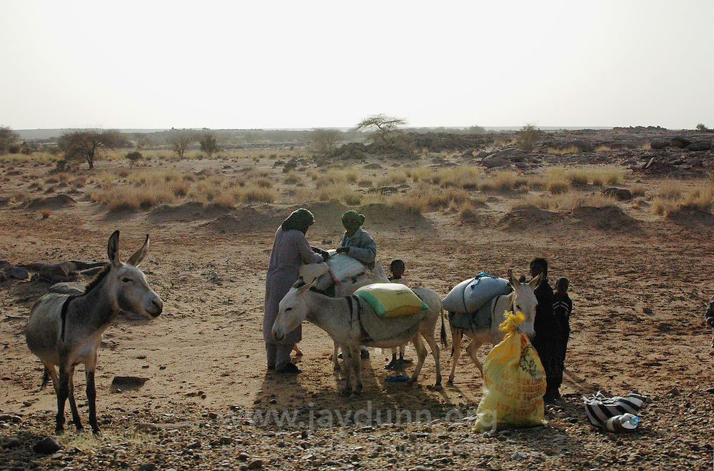 Niger, Agadez, Tidene, 2007. Tuareg nomads load up donkeys in preparation for transporting grain to a faraway settlement.