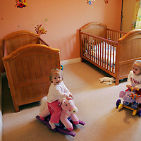 'Right At Home' property feature..25.03.07<br />Paul & Jenny Murray's home at 51 Petrel Way, Dunfermline.<br />The twins in their bedroom Leah (left) and Carrie<br />Picture by Graeme Hart.<br />Copyright Perthshire Picture Agency<br />Tel: 01738 623350  Mobile: 07990 594431