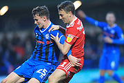 Dan Adshead and Sean McConville challenge during the EFL Sky Bet League 1 match between Rochdale and Accrington Stanley at Spotland, Rochdale, England on 24 November 2018.