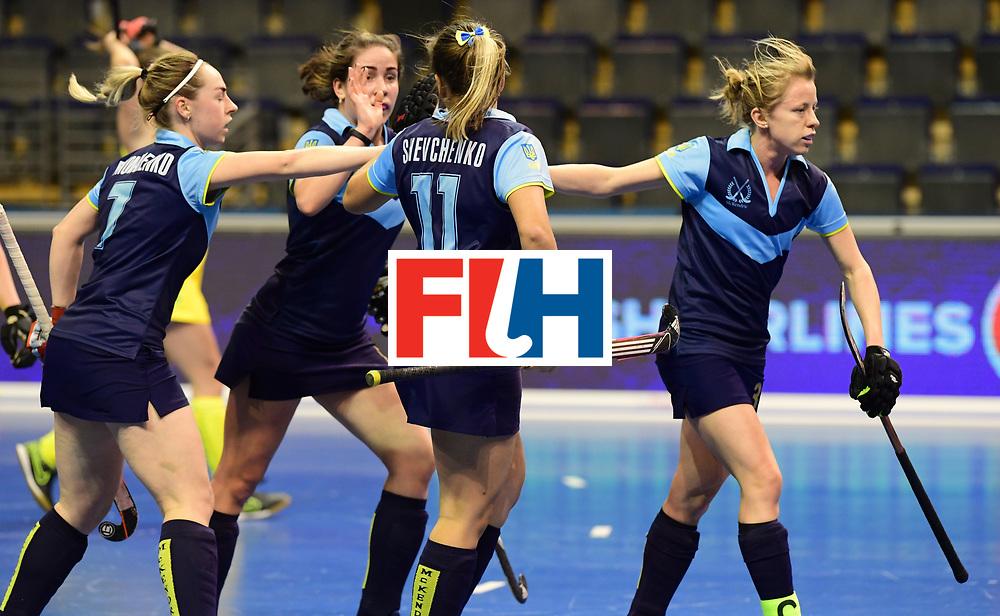BERLIN - Indoor Hockey World Cup<br /> Women: Ukraine - Australia<br /> foto: Ukraine celebebrates.<br /> WORLDSPORTPICS COPYRIGHT FRANK UIJLENBROEK