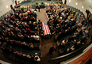Plant City,FL- 1/23/10- Susie Clark fiancee of Sgt. David Croft speaks at his funeral at the Shiloh Baptist Church in Plant City Saturday.  (Scott Iskowitz/Staff) ..