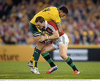 29 June 2013; George North, British & Irish Lions, with Israel Folau, Australia. British & Irish Lions Tour 2013, 2nd Test, Australia v British & Irish Lions. Ethiad Stadium, Docklands, Melbourne, Australia. Picture credit: Stephen McCarthy / SPORTSFILE