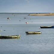 Malahide, Co. Dublin. Boats moored in the Harbour on a gently rippling water