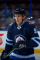 PENTICTON, CANADA - SEPTEMBER 9: Kody McDonald #92 of Winnipeg Jets warms up against the Edmonton Oilers on September 9, 2017 at the South Okanagan Event Centre in Penticton, British Columbia, Canada.  (Photo by Marissa Baecker/Shoot the Breeze)  *** Local Caption ***