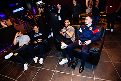 Callum O'Dowda, Josh Brownhill, Bailey Wright and Ed Lewis in action as Bristol City players visit the Belong by GAME gaming arena to play the new FIFA 18 - Rogan/JMP - 27/09/2017 - Merchant Street - Bristol, England.
