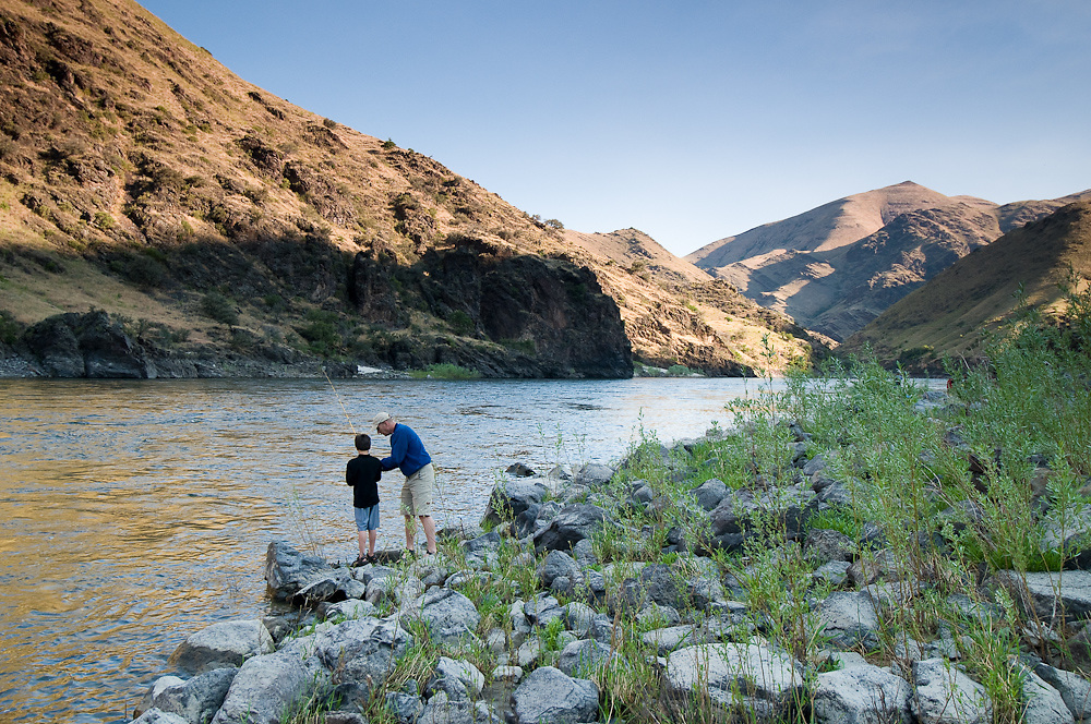 Idaho. Lower Salmon River. Father and son fishing. MR