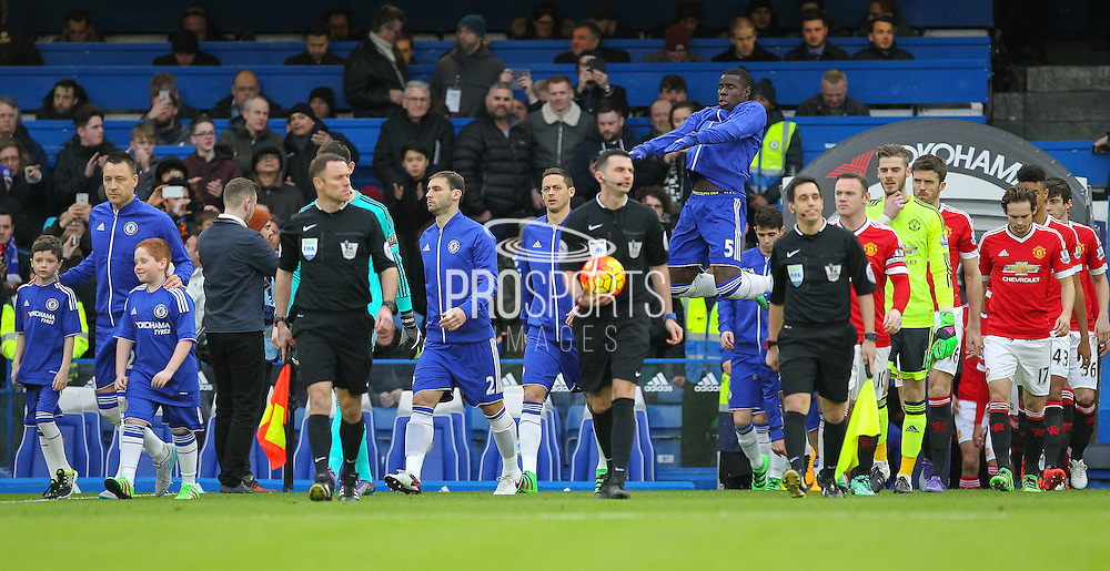 Chelsea and Manchester United come onto the pitch during the Barclays Premier League match between Chelsea and Manchester United at Stamford Bridge, London, England on 7 February 2016. Photo by Phil Duncan.