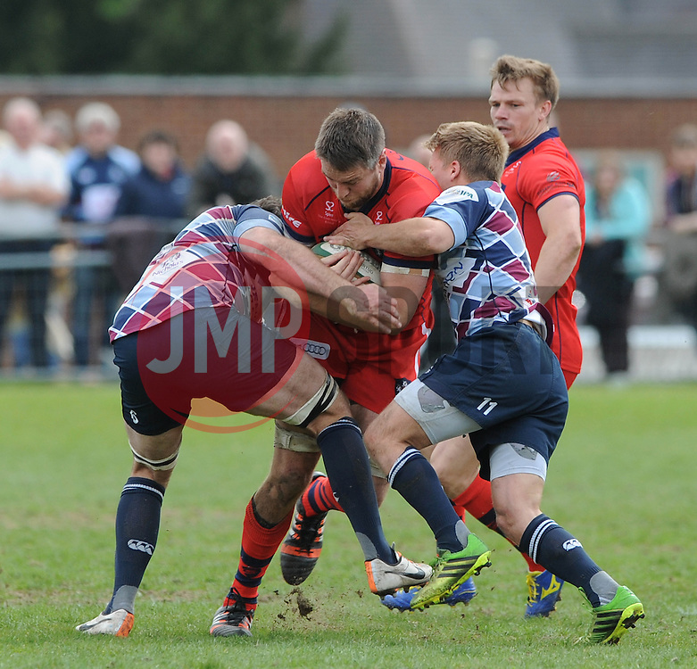 Bristol Rugby Number 8 Ryan Jones is challenged by Rotherham Titans Flanker Alex Rieder and Rotherham Titans Winger Michael Keating - Photo mandatory by-line: Dougie Allward/JMP - Mobile: 07966 386802 - 10/05/2015 - SPORT - Rugby - Sheffield - Abbeydale Dale Sports - Rotherham Titans v Bristol Rugby - Greene King IPA Championship