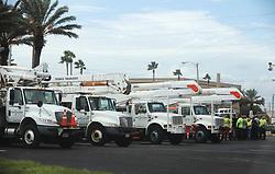 Utility trucks and crew gather in the parking lot of Beach Wave Beachwear in Cocoa Beach, on Tuesday, September 3, 2019.Photo by Ricardo Ramirez Buxeda/ Orlando Sentinel/TNS/ABACAPRESS.COM