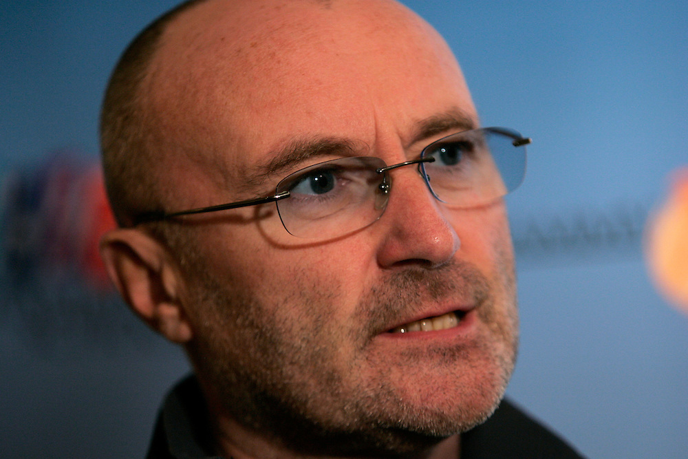Phil Collins performs during a preview event, The event was sponsered by Verizon to promote its sponsership of the 2006 Grammy awards and gave New York students an opportunity to partcipate in a Q&amp;A with Collins, in New York on Friday  03 November 2006<br />