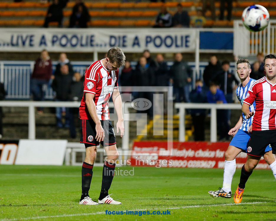 Chris Porter of Sheffield United looking dejected after missing a chance during the Johnstone's Paint Trophy match at Victoria Park, Hartlepool<br /> Picture by Simon Moore/Focus Images Ltd 07807 671782<br /> 07/10/2014