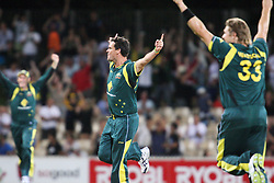 © Licensed to London News Pictures. 08/03/2012. Adelaide Oval, Australia. Bowler Clint McKay (centre) celebrates as he gets the final wicket of the match during the One Day International cricket match final between Australia Vs Sri Lanka. Photo credit : Asanka Brendon Ratnayake/LNP
