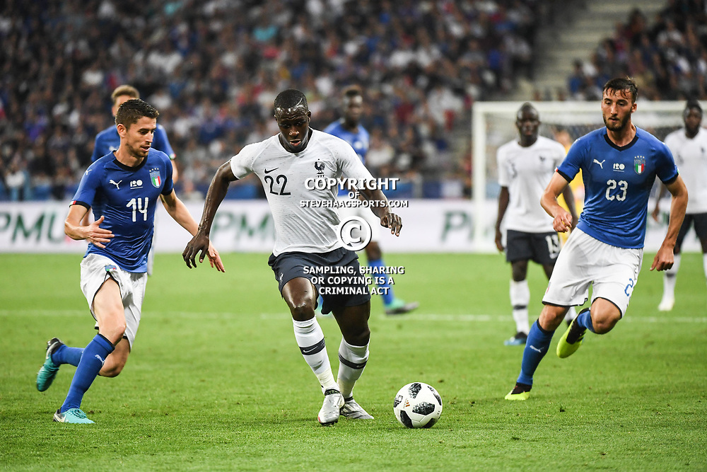 (L-R) Jorge Luiz Jorginho of Italy, Benjamin Mendy of France and Bryan Cristante of Italy during the International Friendly match between France and Italy at Allianz Riviera Stadium on June 1, 2018 in Nice, France. (Photo by Anthony Dibon/Icon Sport)