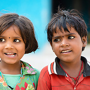 Children in streets of Orchha, India