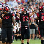 02 September 2017: San Diego State Aztecs tight end Parker Houston #82 celebrates after a ruling on the field was overturned for an Aztecs touchdown in the second quarter. The Aztecs lead the Aggies 24-3 at the half at Qualcomm Stadium in San Diego, California. <br /> www.sdsuaztecphotos.com