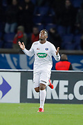 Yeni Ngbakoto (En Avant De Guingamp) scored a goal from penalty, celebration during the French Cup, round of 32, football match between Paris Saint-Germain and EA Guingamp on January 24, 2018 at Parc des Princes stadium in Paris, France - Photo Stephane Allaman / ProSportsImages / DPPI