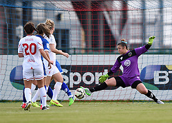 Mary Earps of Bristol Academy Women makes a save - Mandatory by-line: Paul Knight/JMP - Mobile: 07966 386802 - 13/09/2015 -  FOOTBALL - Stoke Gifford Stadium - Bristol, England -  Bristol Academy Women v Liverpool Ladies FC - FA WSL Continental Tyres Cup