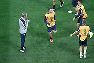 England manager Roy Hodgson (L) watches Wayne Rooney of England warm up during the England training session at Arena Corinthians, Sao Paulo, Brazil, on the eve of their World Cup 2014 Group D match against Uruguay.<br /> Picture by Andrew Tobin/Focus Images Ltd +44 7710 761829<br /> 18/06/2014