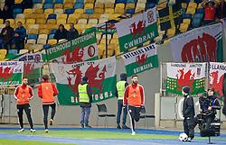 KIEV, UKRAINE - Easter Monday, March 28, 2016: Wales' Joe Ledley warms-up before the International Friendly match against Ukraine at the NSK Olimpiyskyi Stadium. (Pic by David Rawcliffe/Propaganda)