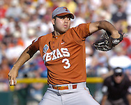 Texas starting pitcher Adrian Alaniz pitched seven innings and got the win for the Longhorns.  Texas defeated Baylor in the first round of the College World Series 5-1 at Rosenblatt Stadium in Omaha, Nebraska on June 18, 2005.