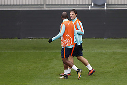 (L-R) Ryan Babel of Holland, Daryl Janmaat of Holland during a training session prior to the FIFA World Cup 2018 qualifying match between Belarus and Netherlands on October 06, 2017 at Borisov Arena in Borisov,  Belarus