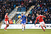 Gillingham forward Rory Donnelly takes a shot at goal during the Sky Bet League 1 match between Gillingham and Swindon Town at the MEMS Priestfield Stadium, Gillingham, England on 6 February 2016. Photo by David Charbit.