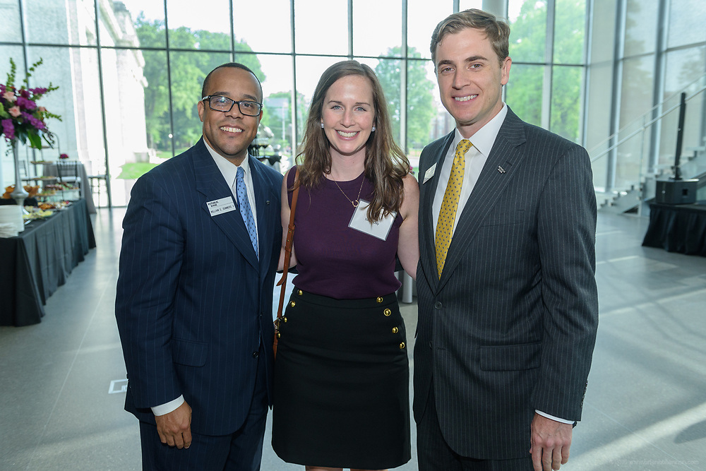 William E. Summers V, Sarah Clay and Brandon Jaggers at the 10-year anniversary celebration of Republic Bank's Private Banking and Business Banking divisions Wednesday, May 17, 2017, at the Speed Art Museum in Louisville, Ky. (Photo by Brian Bohannon)